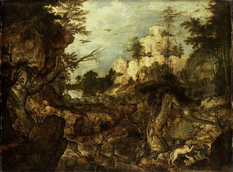 Wild boar hunt in a rocky landscape