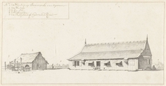 Woonhuis en een schuur op de plantage Surimonbo te Suriname