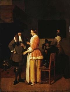 Young Woman Serving Wine to Cavalier