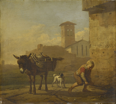 A Boy Loading an Ass in an Italian Village Street