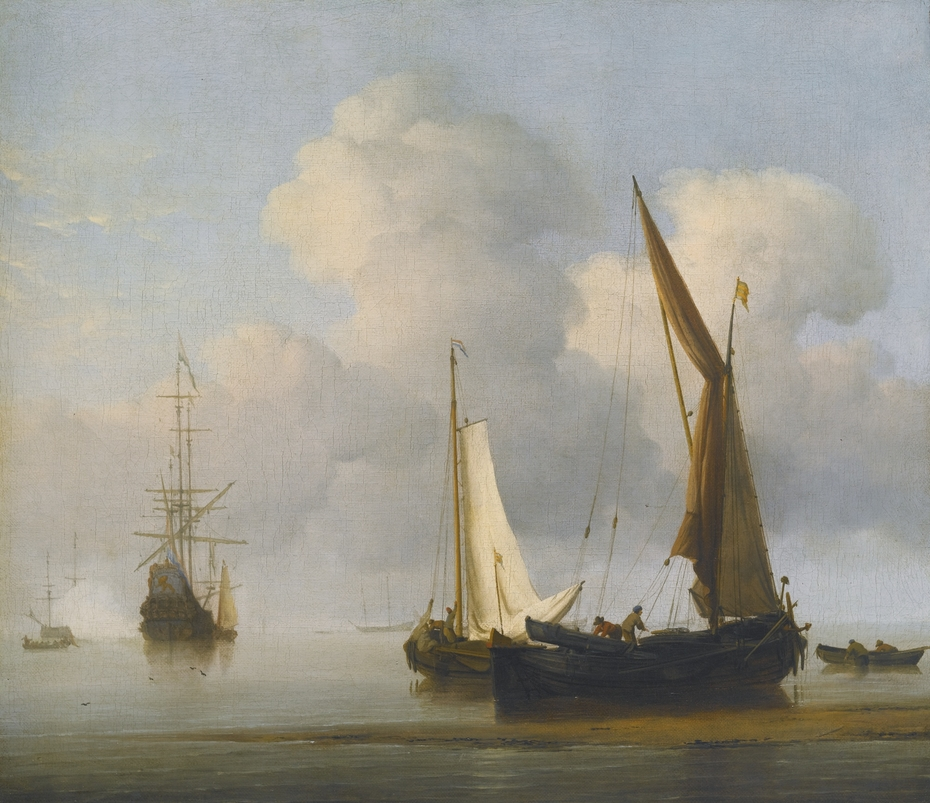 A calm Sea with a Kaag and a Boeier close to the Shore
