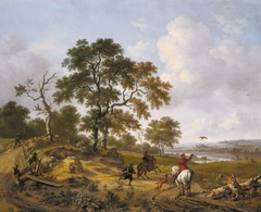 A Hilly Landscape with a Hawking Party