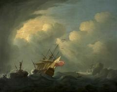 A Man-o'-War in a Rough Sea