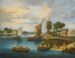 A River Landscape with a Windmill