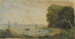 A river scene with rowing boat and sails on the horizon