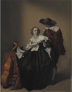 A Seated Woman with a Letter, a Gentleman Standing by Her