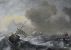 A threemaster with the Amsterdam coat-of-arms, with other vessels, in a storm