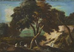 A Wooded Landscape with Huntsmen