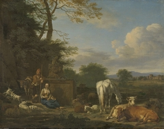 Arcadian Landscape with resting Shepherds and Animals