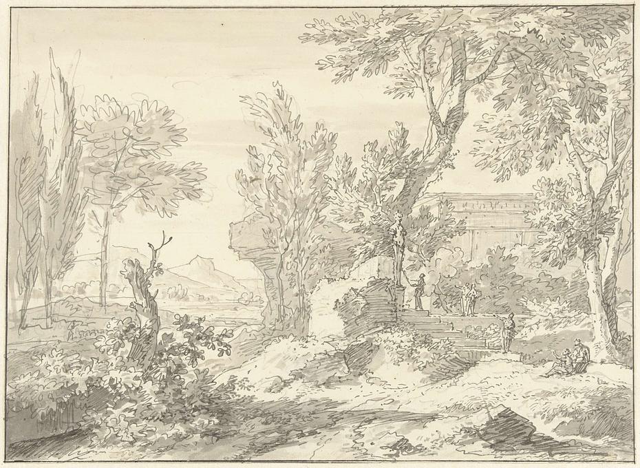 Arcadisch landschap met een ruïne en figuren bij een trap