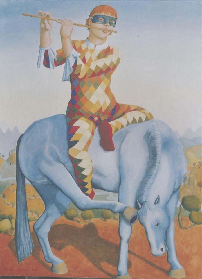 Arlecchino flautista su cavallo azzurro