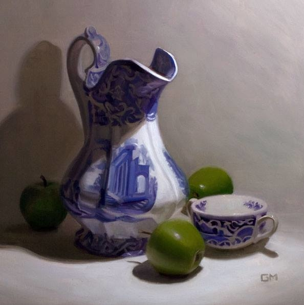 Blue and white porcelain with apples