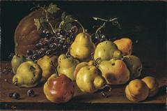 Bodegón con peros y melocotones uvas y melón