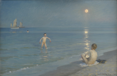 Boys Bathing at Skagen. Summer Evening