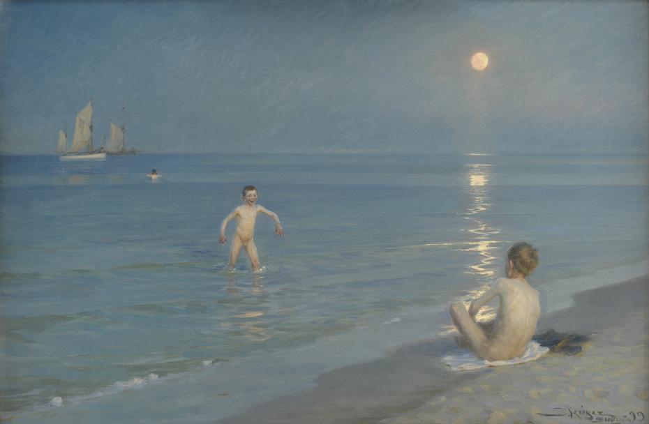 Boys Bathing at Skagen. Summer Evening