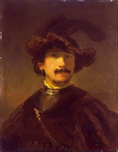 Bust of a man in a gorget and feather bonnet