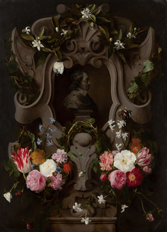 Bust of Constantijn Huygens Surrounded by a Garland of Flowers (1596–1687)