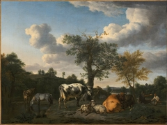 Cattle and Sheep in a River Landscape