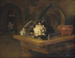 Cauliflowers, an earthenware bowl and a copper pot on a table