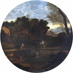 Classical Landscape and Figures in a Tondo (after Dughet)