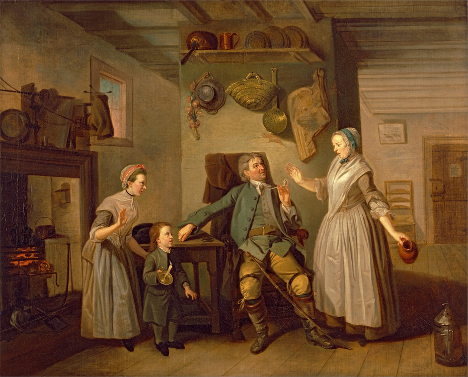 "David Garrick and Mary Bradshaw in David Garrick's ""The Farmer's Return"""