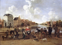 De Groenmarkt met gezicht op de Stille Rijn in Leiden