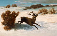 Deer Running in the Snow