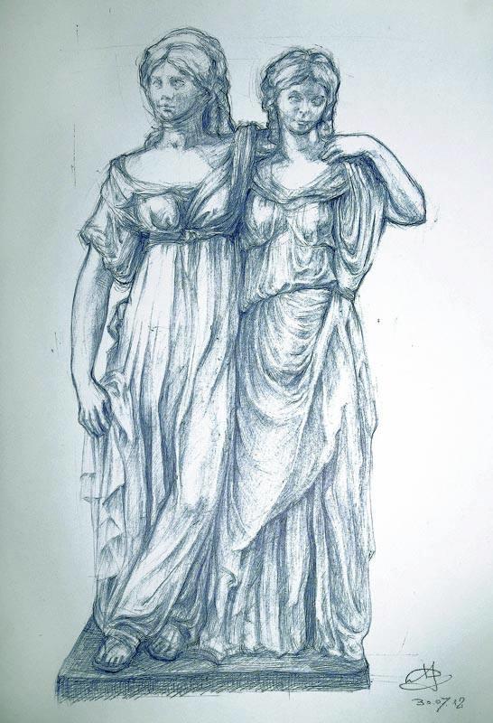 Die Prinzessinnengruppe, ball-point pen (nach einer Skulptur des Bildhauers Johann Gottfried Schadow)
