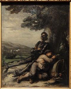 Don Quixote and Sancho Panza Resting Beneath a Tree