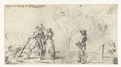 Drie wandelaars in een landschap