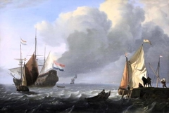 Dutch Ship of the Line towing a Longboat