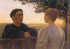 Evening encounter at the garden fence