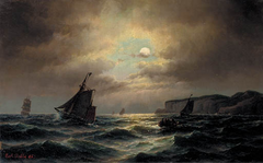 Fishing vessels taking out to sea by moonlight.