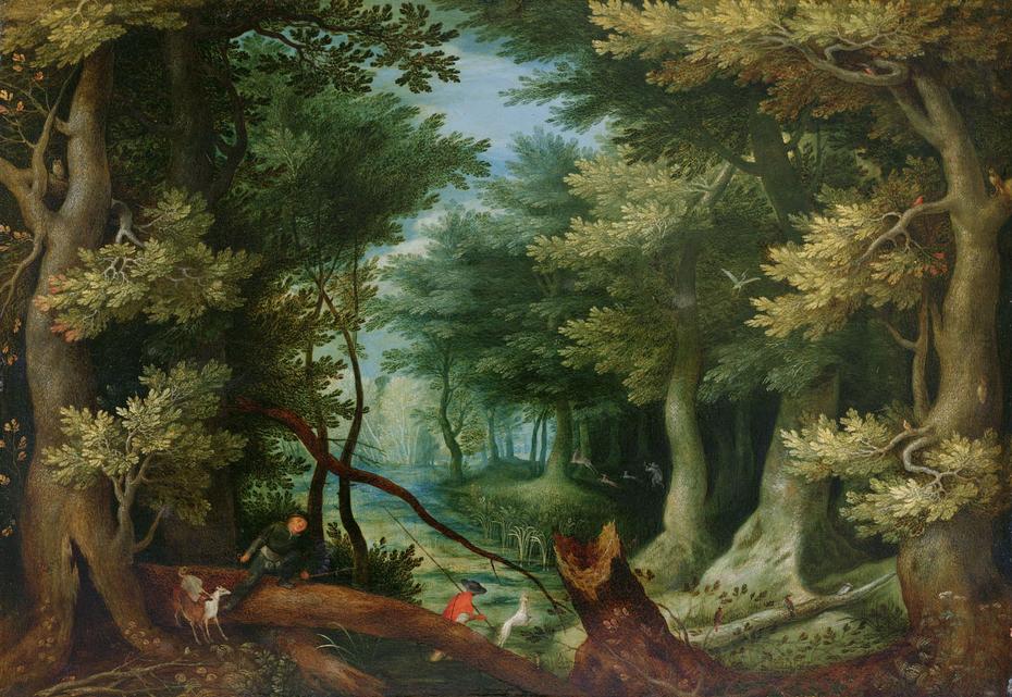 Forest landscape with deer hunt