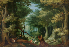 Forest landscape with deer hunt