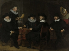 Four Governors of the Arquebusiers Civic Guard, Amsterdam, 1642 (Officers and other Marksmen of the XVIII District in Amsterdam under the Command of Captain Albert Bas and Lieutenant Lucas Conyn)