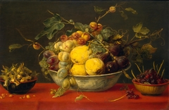 Fruit in a Bowl on a Red Cloth