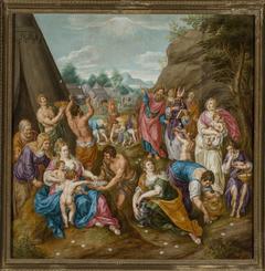 Gathering manna (Exodus 16:14-17)