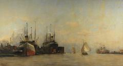 Gezicht op het IJ naar het oosten, met de dokken van de Amsterdamsche Droogdok Maatschappij en de kop van het IJ-eiland