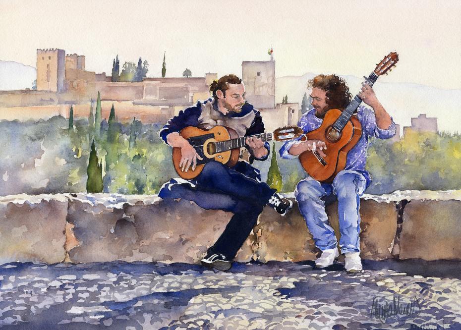 Guitarristas en Plaza San Nicolas Granada