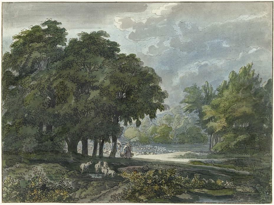 Herders met kudde in bosrijk landschap