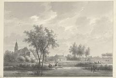 Het dorp Oud-Loosdrecht met de kerk