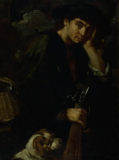 """Hunter with his Gun and Dog. (Allegory of """"Air"""")"""