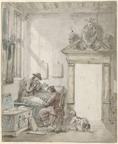 Interieurscène met schrijvende man aan een lessenaar