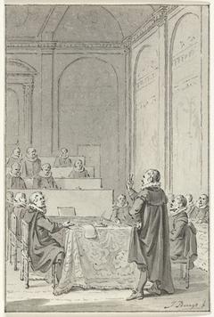 Johan van Oldenbarnevelt doet de eed als Landsadvocaat, 1586