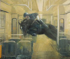 Jump across the tram - oil on canvas - 160x190 cm.