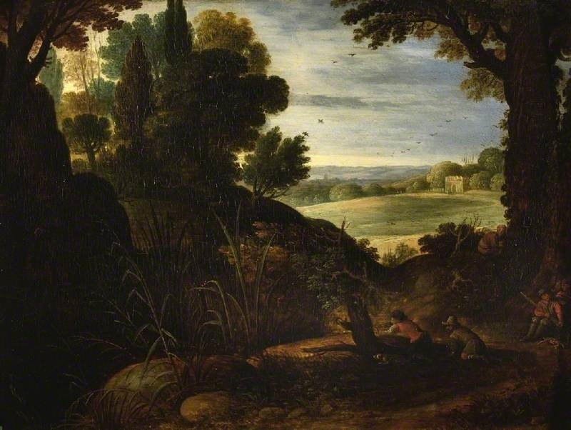 Landscape with sportsmen