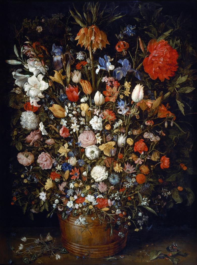 Large Flower Bouquet in Wooden Vase