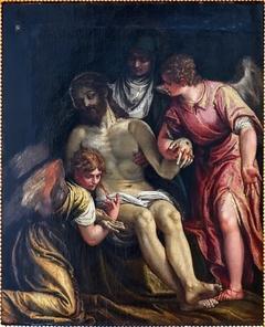 Le Christ pleuré par la Vierge et deux anges