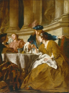 Luncheon with Figures in Masquerade Dress